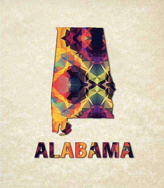 Alabama Painting - Polygon Mosaic Parchment Map Alabama by Elaine Plesser