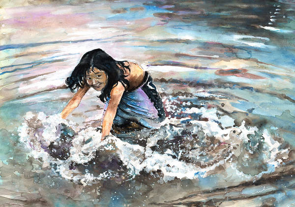 Painting - Polynesian Child Playing With Water by Miki De Goodaboom