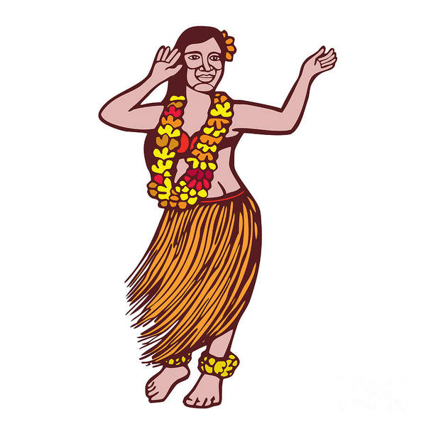 Hawaii Wall Art - Digital Art - Polynesian Dancer Grass Skirt Linocut by Aloysius Patrimonio