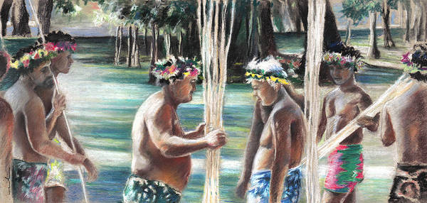 Painting - Polynesian Men With Spears by Miki De Goodaboom