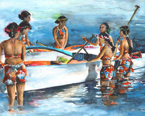 Painting - Polynesian Vahines Around Canoe by Miki De Goodaboom