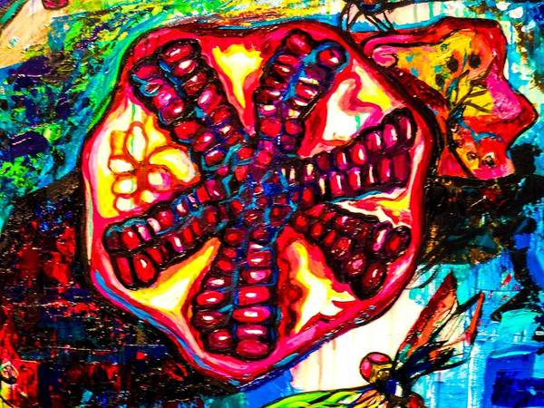 Dragon Fly Painting - Pomegranate And Dragonfly by Genevieve Esson