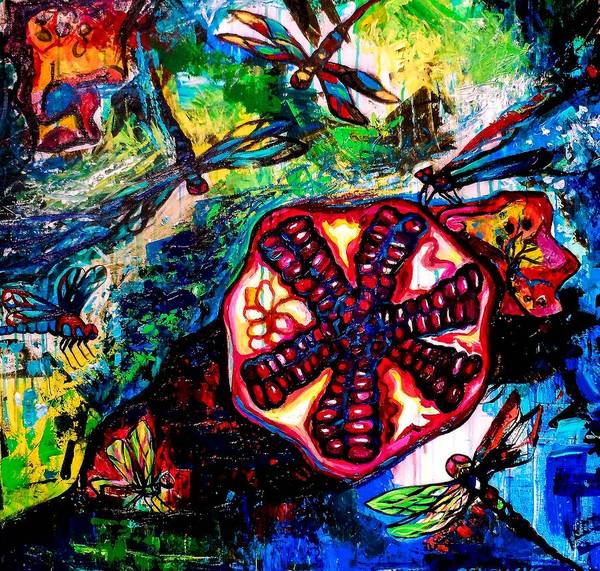 Dragon Fly Painting - Pomegranate And Six Dragonflies by Genevieve Esson