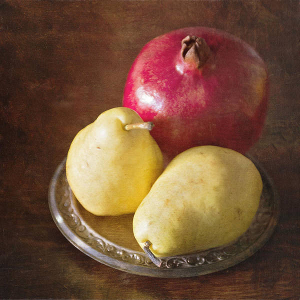 Photograph - Pomegranate And Yellow Pear Still Life by Renee Hong