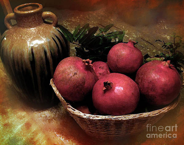Digital Effect Photograph - Pomegranate Basket And Clay Jar by Peter Awax
