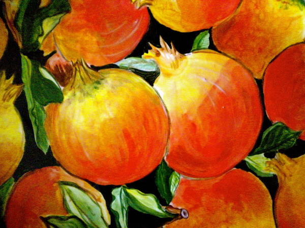 Pomegranates Painting - Pomegranate by Debi Starr