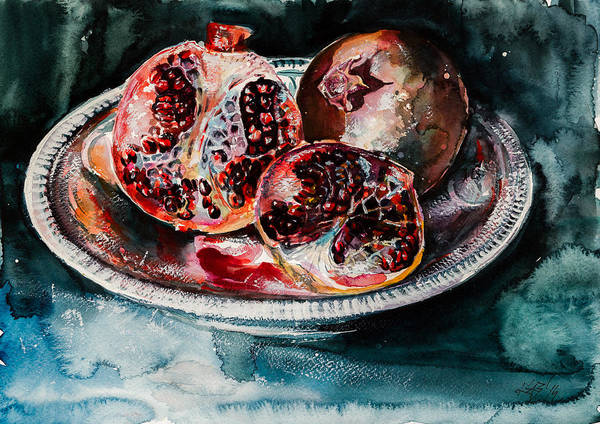 Pomegranates Painting - Pomegranate by Kovacs Anna Brigitta