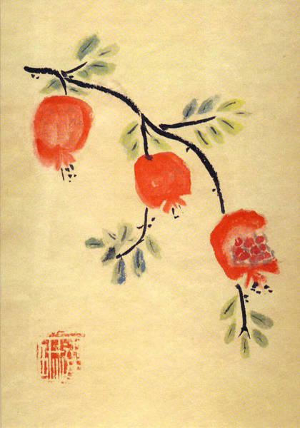 Painting - Pomegranates by Linda Feinberg