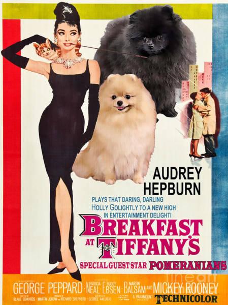 Pomeranian Painting - Pomeranian Art Canvas Print - Breakfast At Tiffany Movie Poster by Sandra Sij