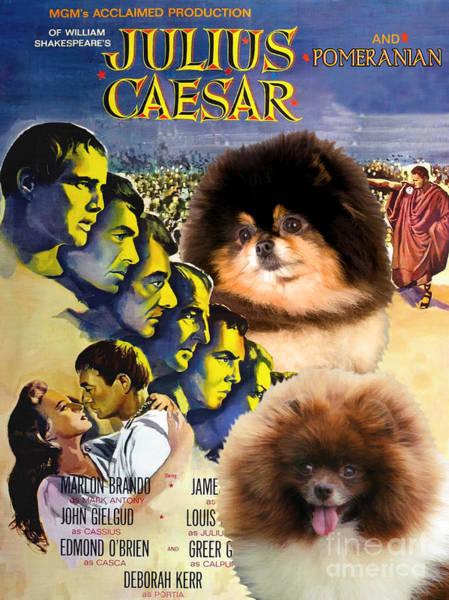 Pomeranian Painting - Pomeranian Art Canvas Print - Julius Caesar Movie Poster by Sandra Sij