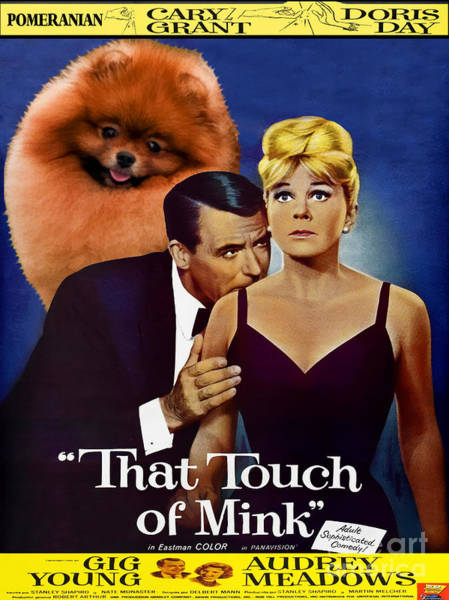 Pomeranian Painting - Pomeranian Art Canvas Print - That Touch Of Mink Movie Poster by Sandra Sij