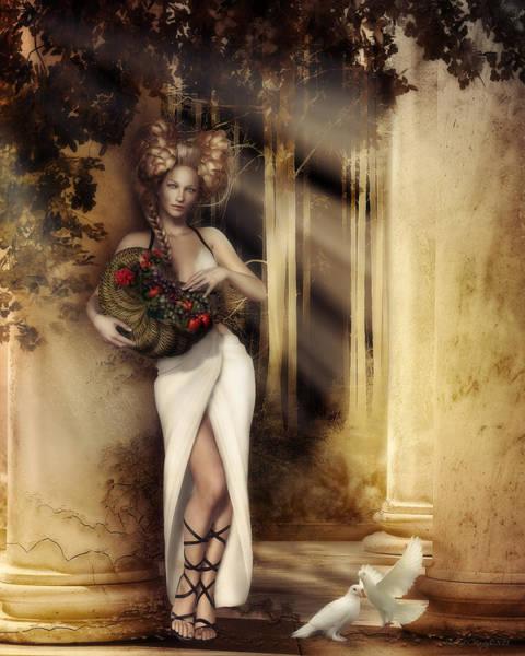 Dove Digital Art - Pomona Goddess Of Bountiful Harvest by Shanina Conway