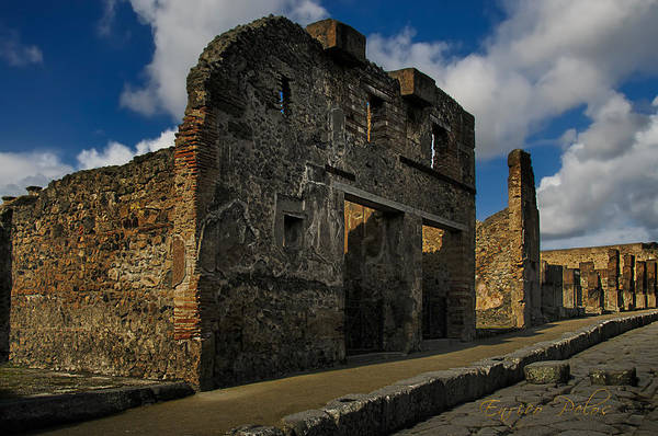 Photograph - Pompei Una Delle Strade Lastricate  Paved Road With Building Facade by Enrico Pelos