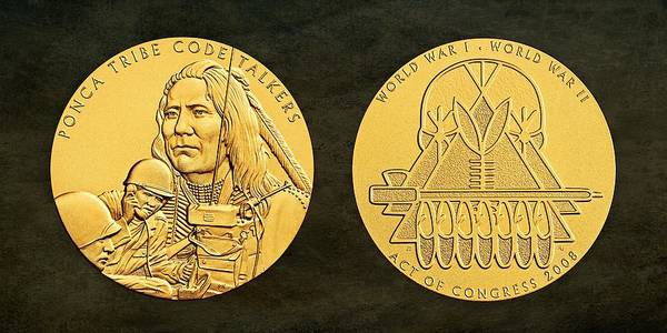 Code Talkers Photograph - Ponca Tribe Code Talkers Bronze Medal Art by Movie Poster Prints