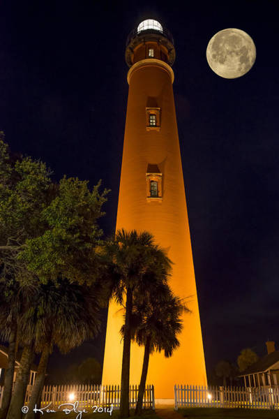 Blye Photograph - Ponce Inlet Lighthouse And Moon by Kenneth Blye