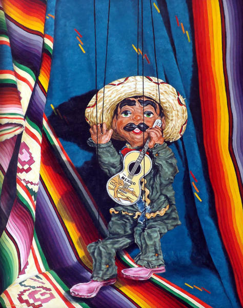 Painting - Poncho And His Guitar by Linda Becker