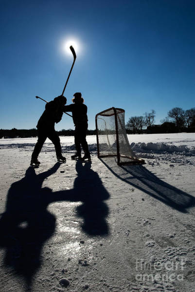 Photograph - Pond Hockey-2 by Steve Somerville