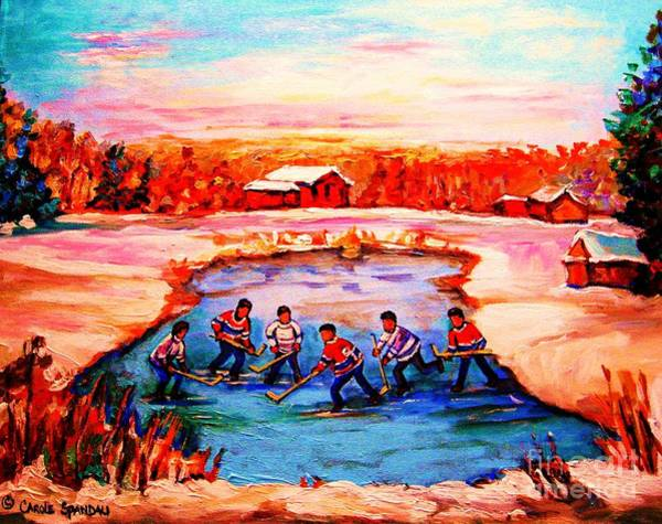 Painting - Pond Hockey Game By Montreal Hockey Artist Carole Spandau by Carole Spandau