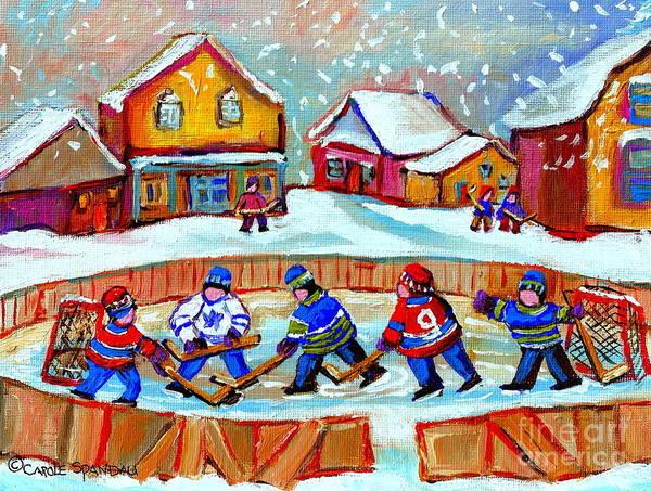 Boys Playing Hockey Painting - Pond Hockey Game by Carole Spandau