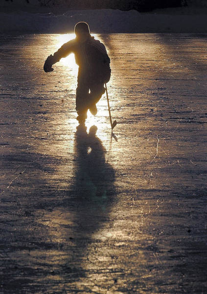 Photograph - Pond Hockey Silhouette by Steve Somerville