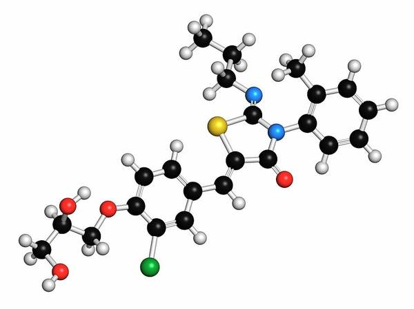 Molecular Wall Art - Photograph - Ponesimod Anti-inflammatory Drug Molecule by Molekuul/science Photo Library