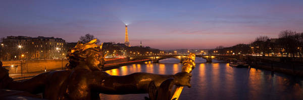 Alexandre Photograph - Pont Alexandre IIi Bridge With Statue by Panoramic Images