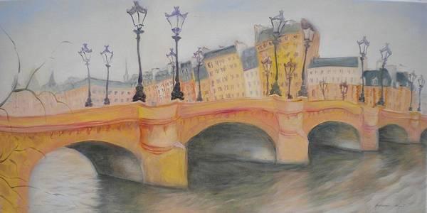 Parisian Photograph - Pont Neuf Et Ile De La Cite, 2010 Oil On Canvas by Antonia Myatt