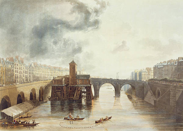 River Drawing - Pont Notre Dame, From Views by John Gendall