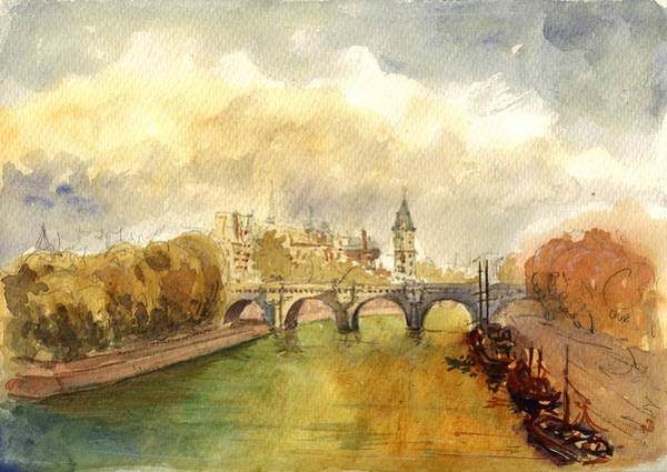 Cathedral Painting - Ponte Neuf Paris by Juan  Bosco