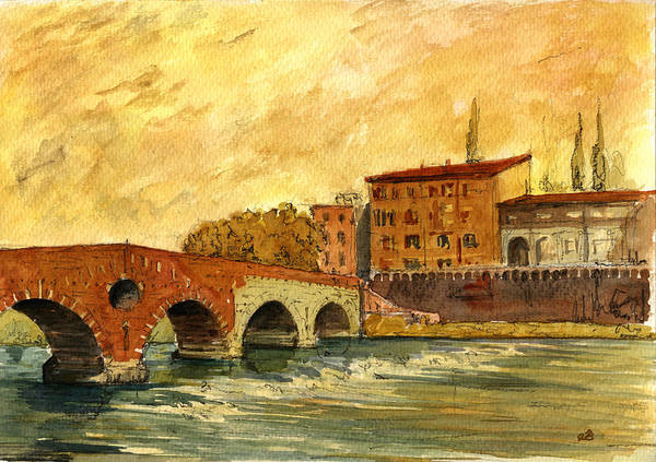 Wall Art - Painting - Ponte Pietra Verona Italy by Juan  Bosco