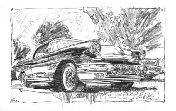 Wall Art - Drawing - Pontiac Bonneville Study by Garth Glazier
