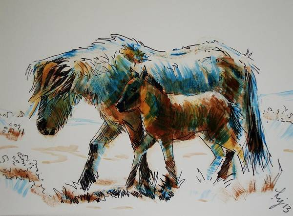 Painting - Pony And Foal by Mike Jory