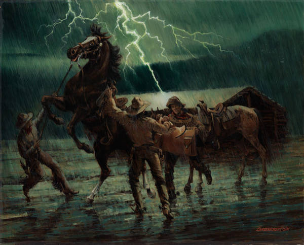 Wall Art - Painting - Pony Express In Rain by Don  Langeneckert