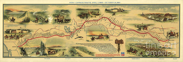 Wall Art - Painting - Pony Express Map William Henry Jackson by William Henry Jackson