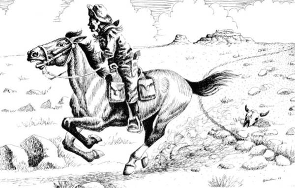 Drawing - Pony Express Rider by Bern Miller