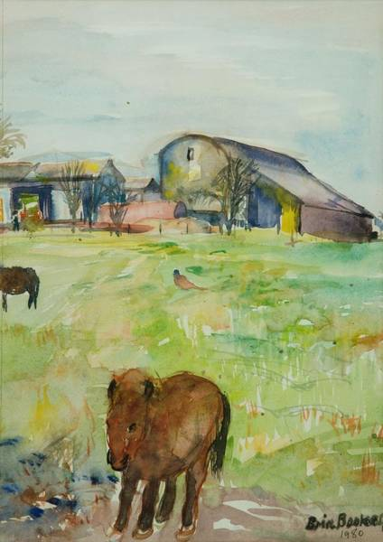 Paddock Wall Art - Photograph - Pony In The Farm Meadow, East Green, 1980 Wc On Paper by Brenda Brin Booker