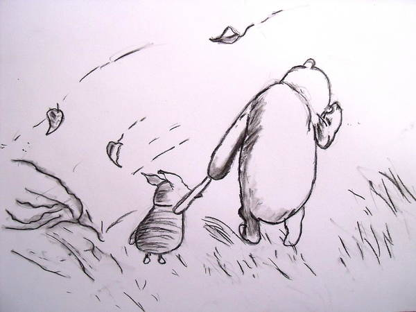 Grass Drawing - Pooh And Piglet by Jessica Sanders