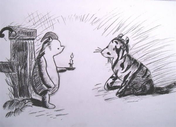 Tigger Wall Art - Drawing - Pooh And Tigger by Jessica Sanders