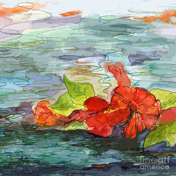 Mixed Media - Pool Flowers Modern Art by Ginette Callaway