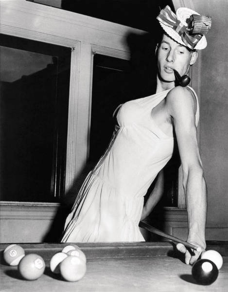 Zazzle Photograph - Pool Player's Feminine Side by Underwood Archives