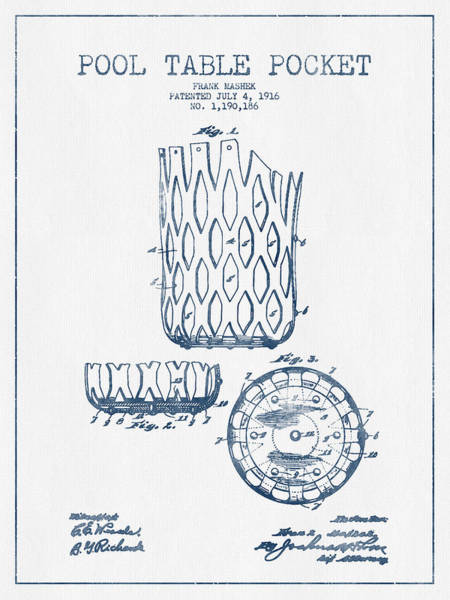 Pool Digital Art - Pool Table Pocket Patent Drawing From 1916  -  Blue Ink by Aged Pixel