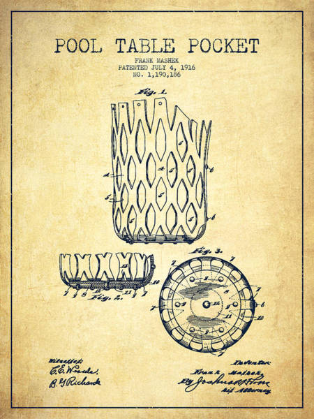 Pool Digital Art - Pool Table Pocket Patent Drawing From 1916 - Vintage by Aged Pixel