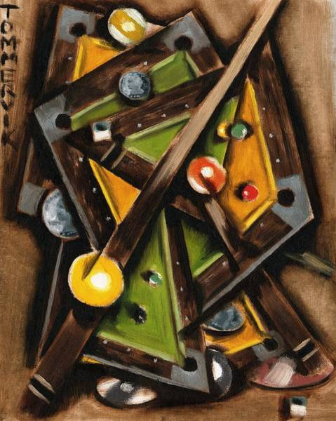 Painting -  Tommervik Abstract Cubism Pool Table Art Print by Tommervik