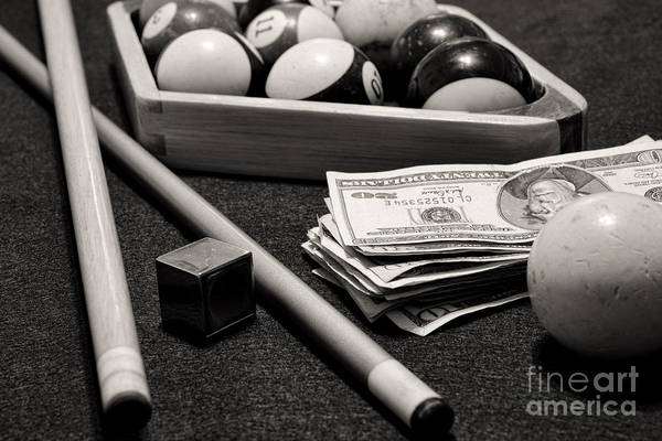Game Room Photograph - Pool - The Hustler -  Black And White by Paul Ward