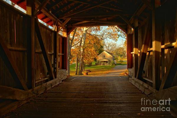 Photograph - Poole Forge Covered Bridge - Lancaster County Pa by Adam Jewell