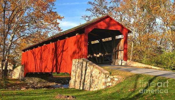 Photograph - Poole Forge Covered Bridge Crop by Adam Jewell