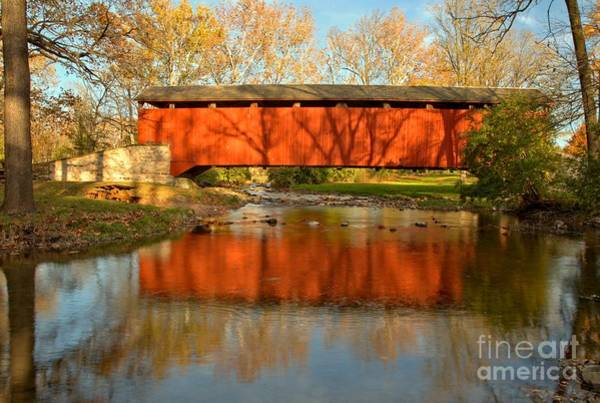 Photograph - Poole Forge Covered Bridge Mirror by Adam Jewell