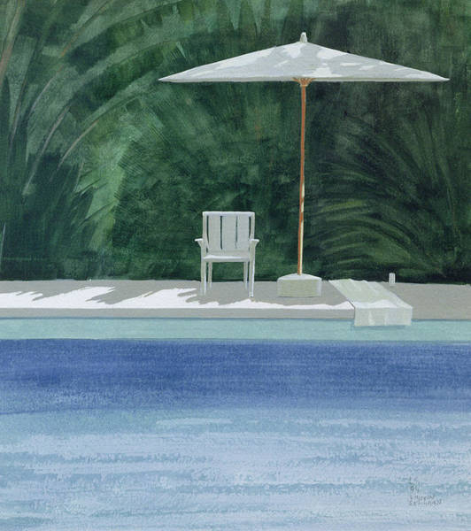 Summer Photograph - Poolside, 1994 Acrylic On Paper by Lincoln Seligman