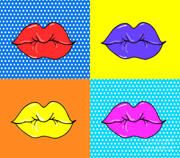 Passion Digital Art - Pop Art Lips. Warhol Style Poster. Dot by Oksanka007