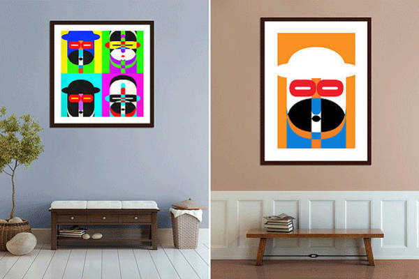 Hanged Photograph - Pop Art People On The Wall by Edward Fielding